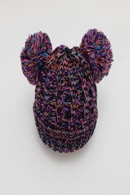 Black Rainbow Double Pom Pom Beanie Hat
