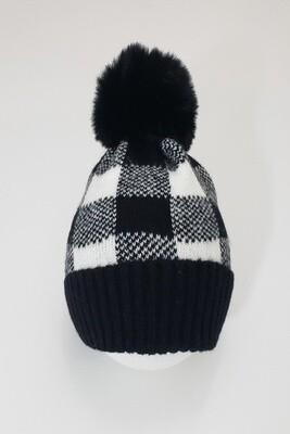 Black White Buffalo Plaid Beanie Hat