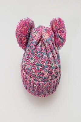 Pink Rainbow Double Pom Pom Beanie Hat-Clone