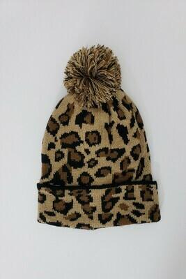 Girls Cheetah Beanie Hat