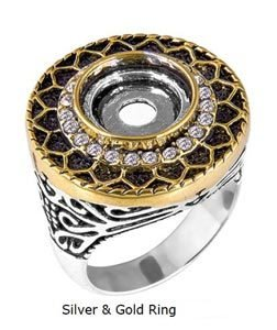 LD8702 SILVER GOLD RING SZ 7