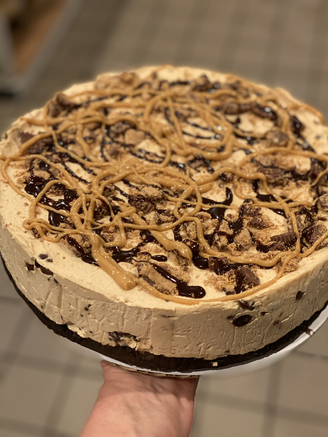 Peanut Butter Chocolate Chip Cheesecake By the slice