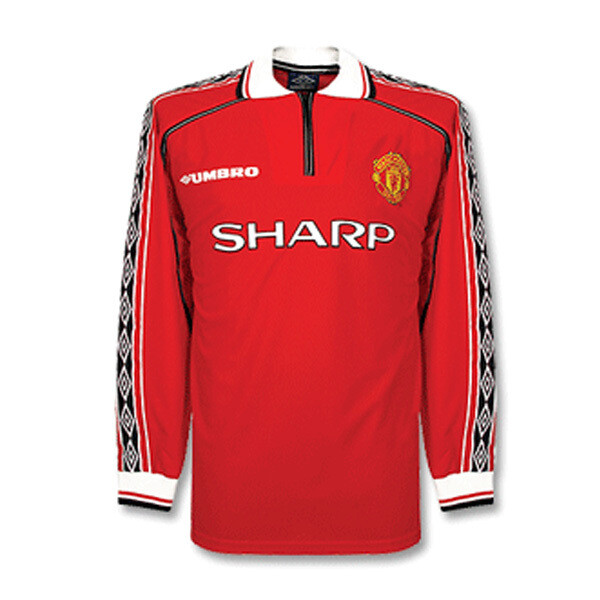 1998 -1999 Manchester United Home Retro Long Sleeve Jersey (Replica)