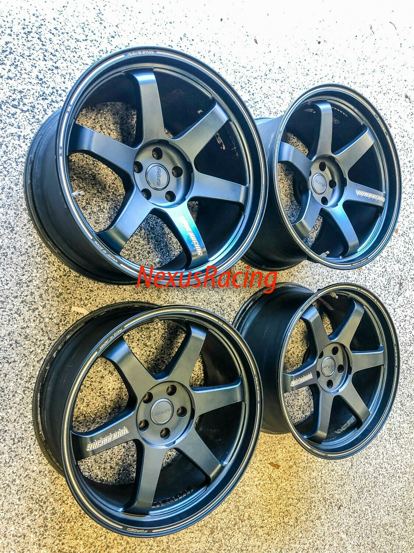 Nissan GT-R Volk Racing TE37 Ultra Wheel 20x10 20x12 5x114.3  Matte Blue Wheels