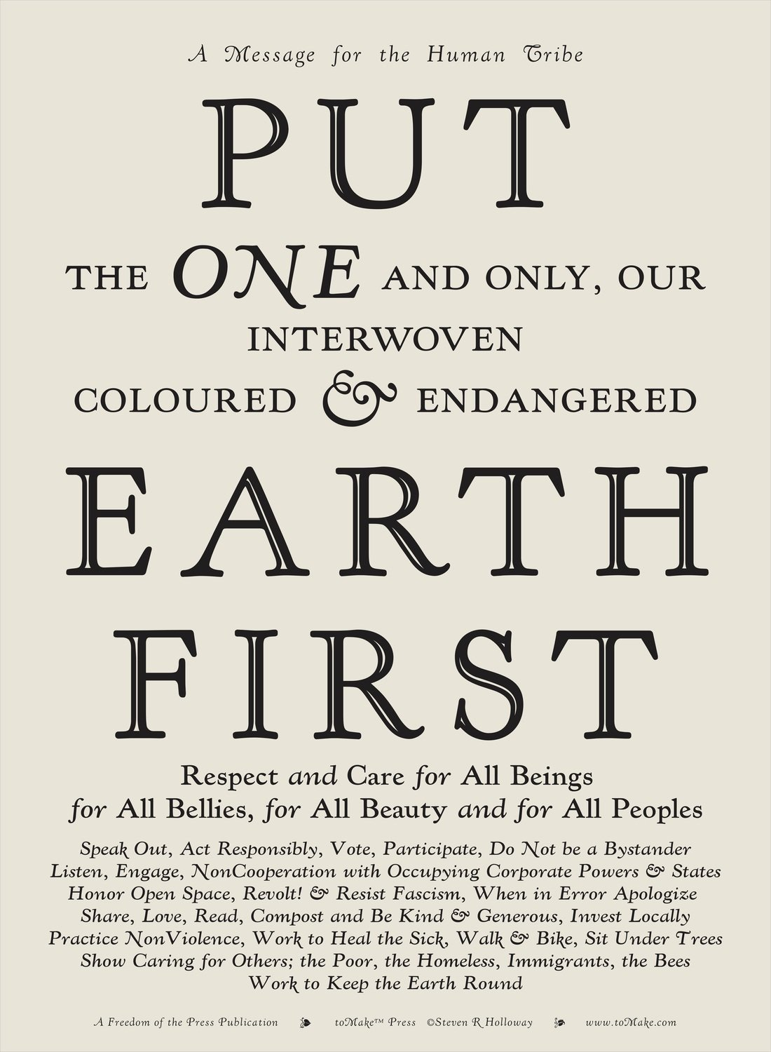 Signed Broadside: Put Earth First