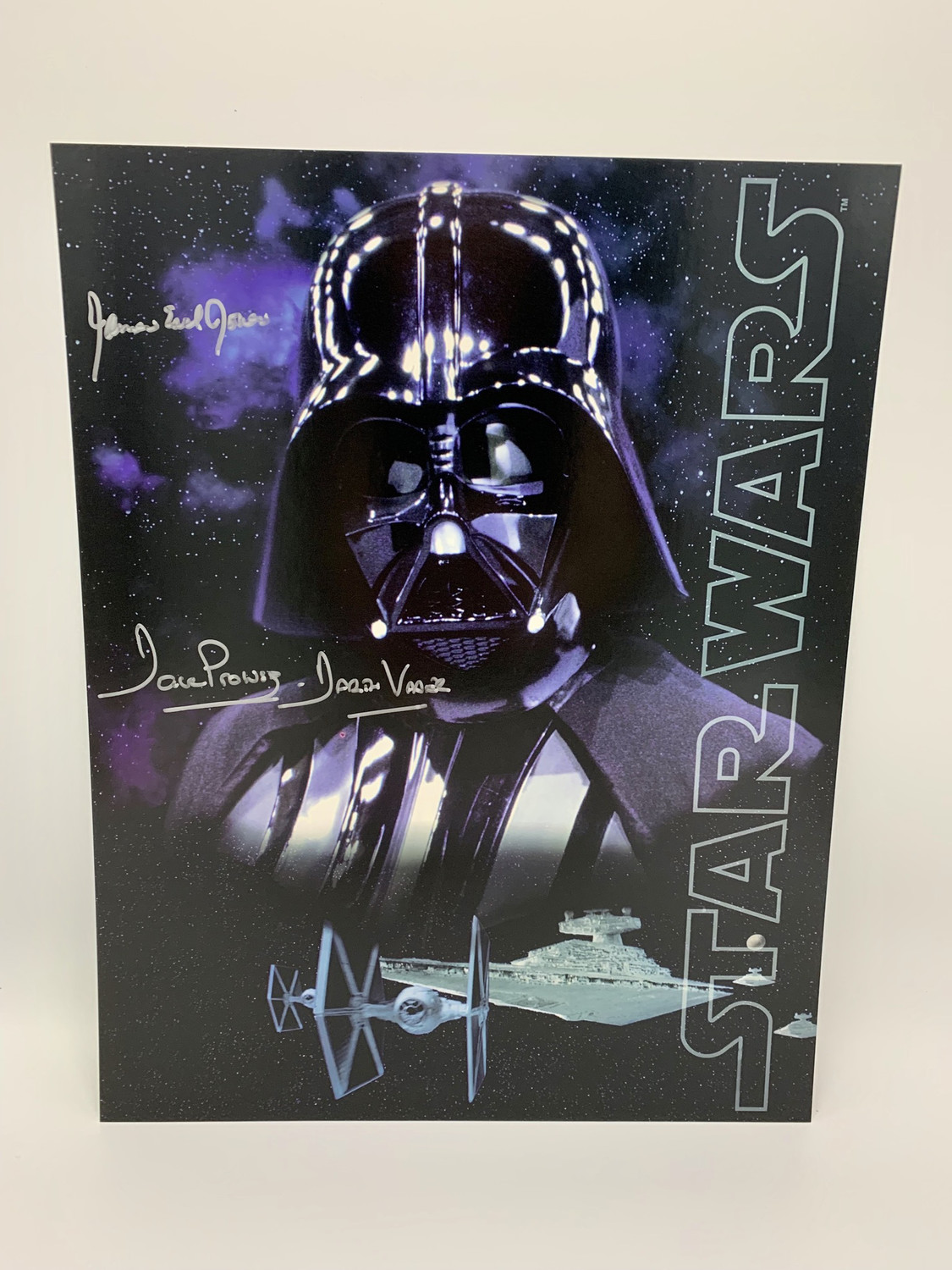 11X14 DARTH VADER POSTCARD SIGNED BY DAVE PROWSE AND JAMES EARL JONES