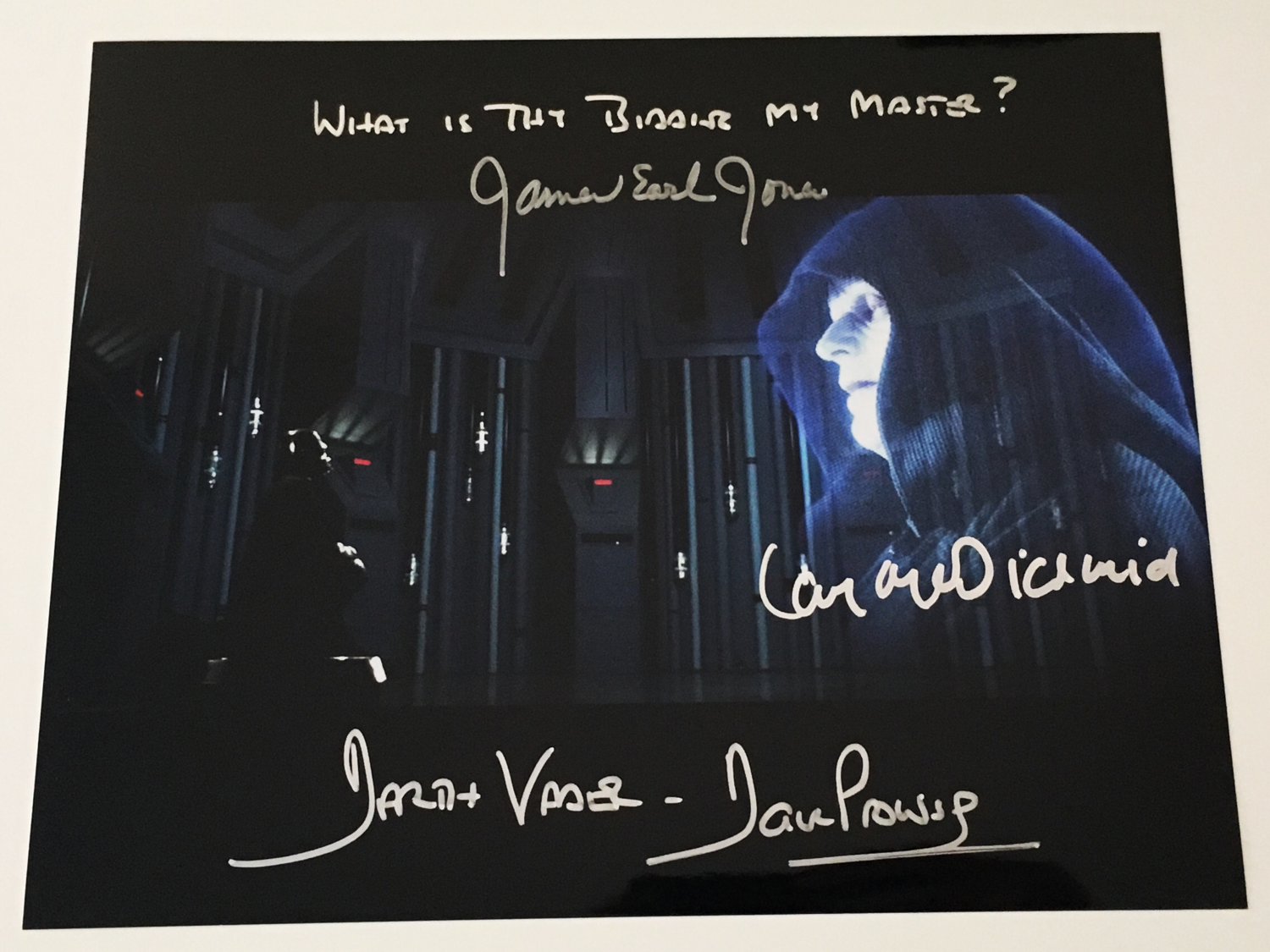 8X10 PHOTO SIGNED BY DAVE PROWSE, JAMES EARL JONES, AND IAN MCDIARMID