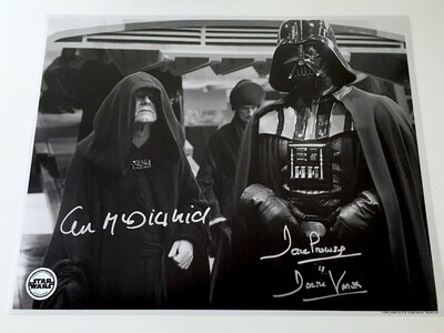 11X14 POSTCARD SIGNED BY DAVE PROWSE AND IAN MCDIARMID