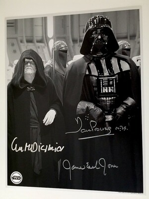 11X14 POSTCARD SIGNED BY DAVE PROWSE, JAMES EARL JONES, AND IAN MCDIARMID