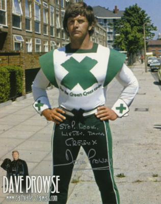 GREEN X CODE 8X10 PHOTO SIGNED BY DAVE PROWSE