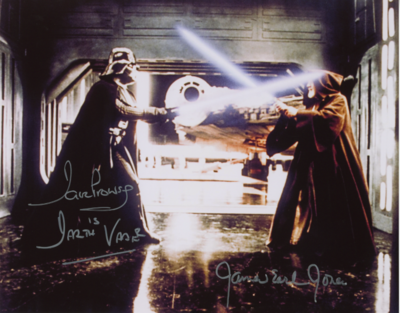 DARTH VADER 8X10 PHOTO SIGNED BY DAVE PROWSE AND JAMES EARL JONES