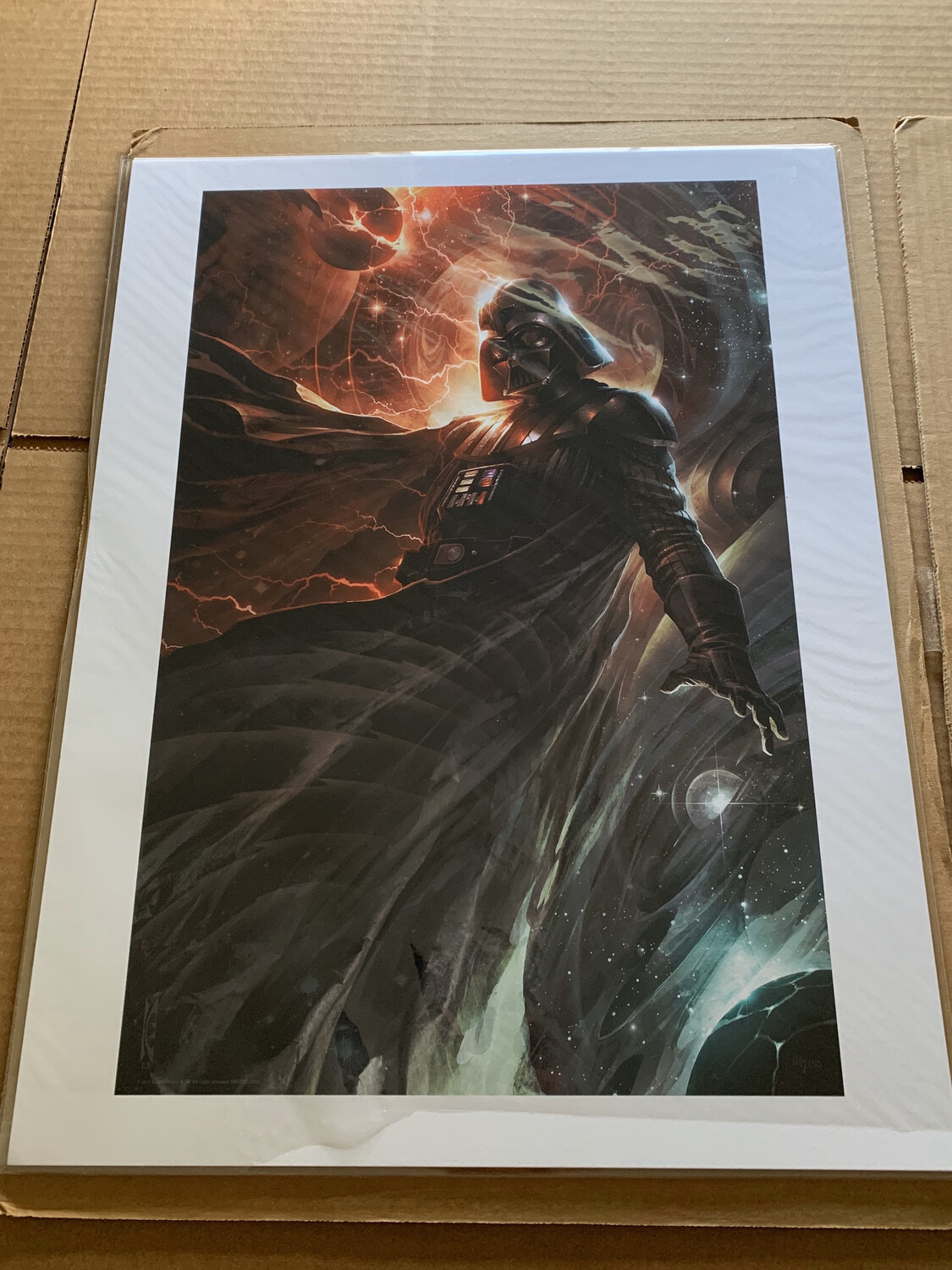 CENTER OF THE STORM #119 OF 150 BY RAYMOND SWANLAND WITH FREE SIGNED DARTH VADER PHOTO
