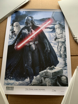 THE DARK LORD INVADES #121 OF 302 BY CHRIS TREVAS WITH FREE SIGNED DARTH VADER PHOTO