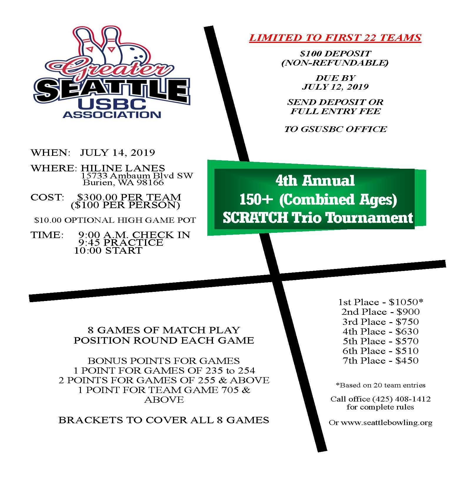 150 + Scratch Trio Tournament 150+-2019