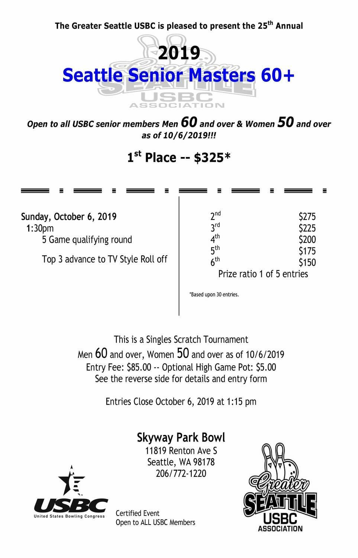 Seattle Senior Masters 60+ Tournament