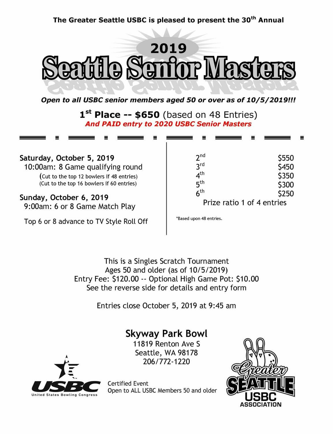 Seattle Senior Masters 50+ Tournament