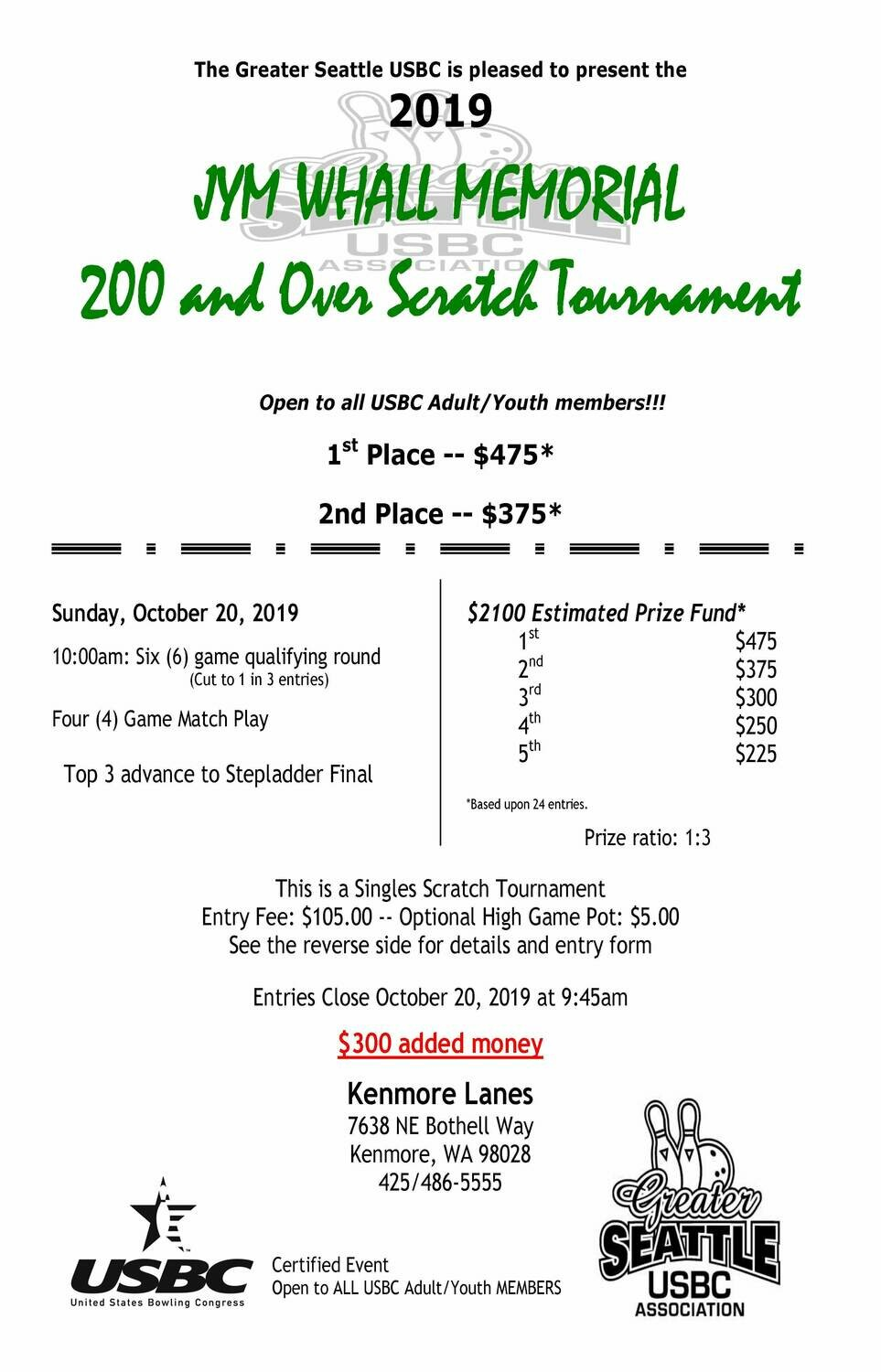 Jym Whall Memorial Tournament - Over 200 Scratch Division