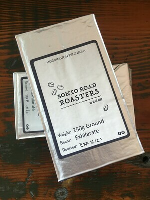 Ground Coffee - 250gm ground coffee brick 'Boneo Road Roasters' Exhilarate House Blend