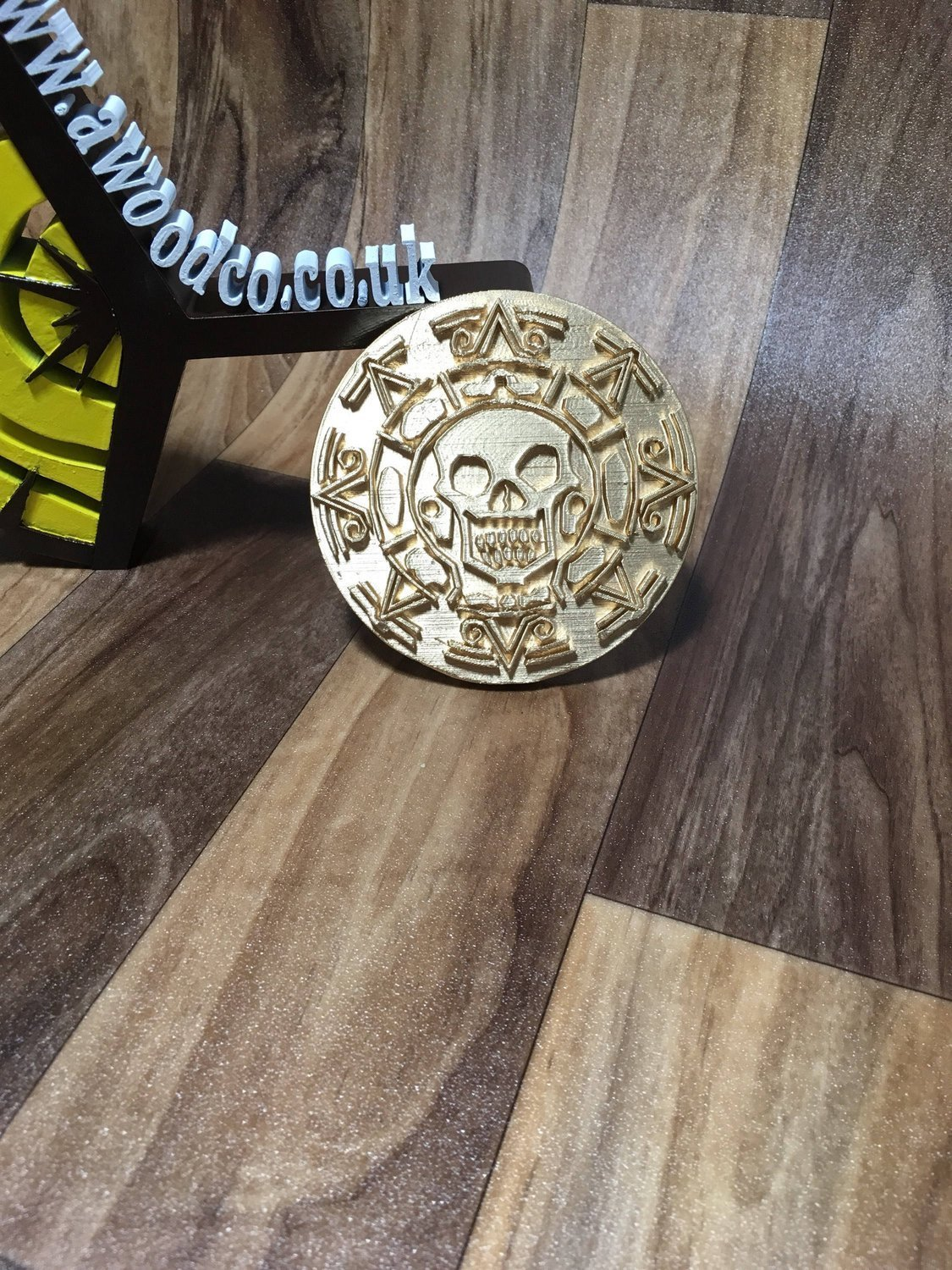 GIANT Pirates of the Caribbean - X1 Gold coloured doubloon/coin/aztec gold  Captain Jack Sparrow - 3D Printed