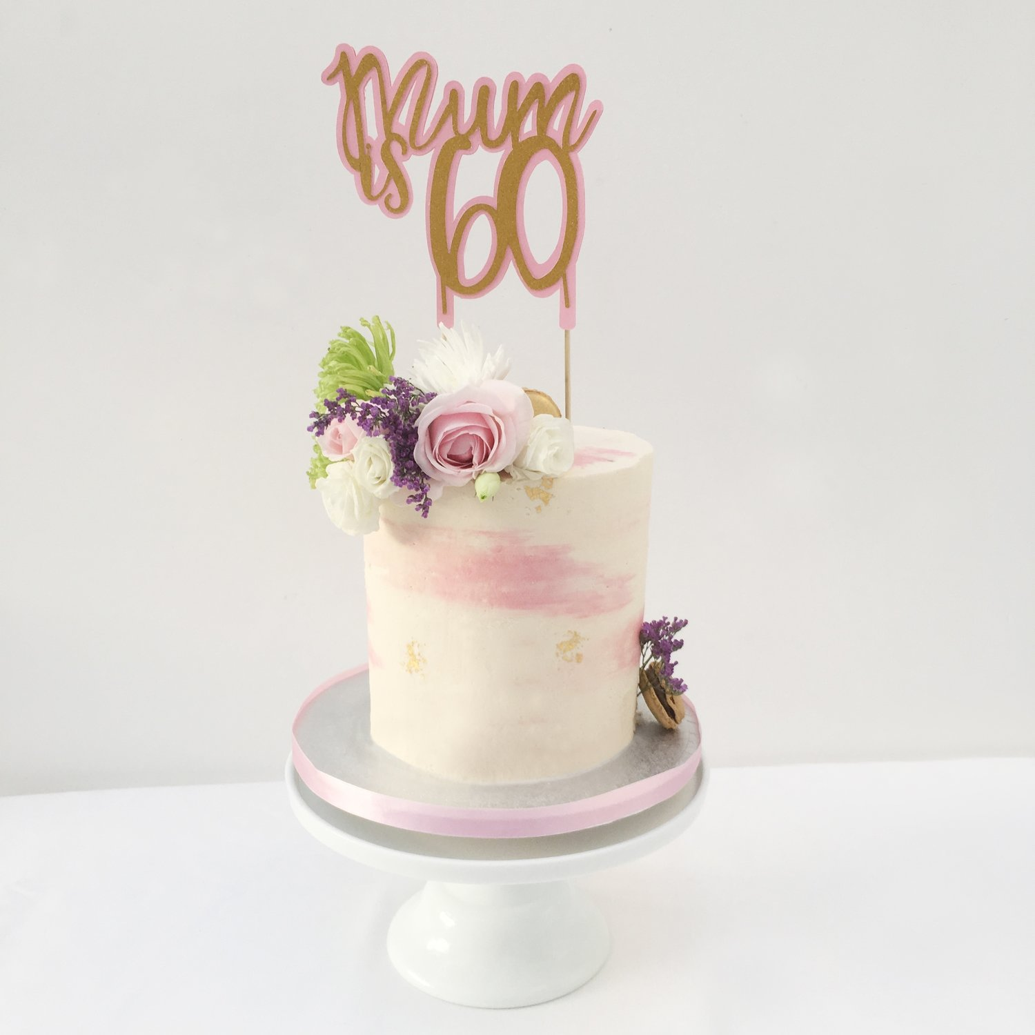 Ivory and Pink Butter-Cream with Edible Gold Leaf Cake