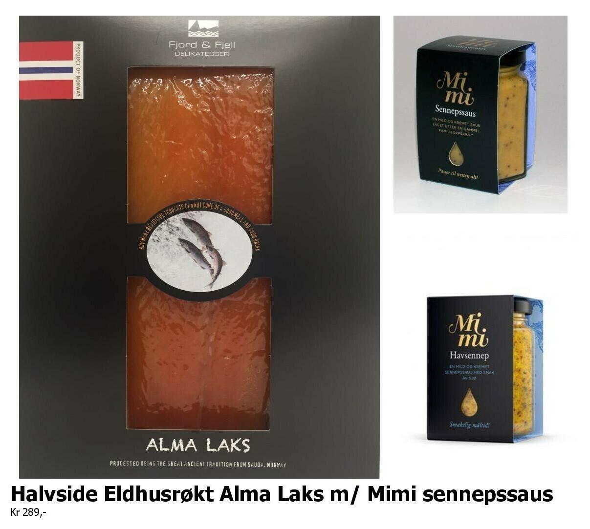 ELDHUSRØKT ALMA LAKS, 1/2 side m/ Mimi Sennepssaus