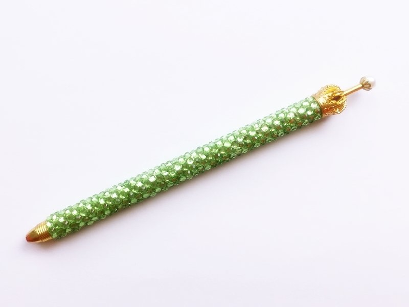 ボールペン キラキラペンULKA グリーン ラインストーン 替え芯1本付き ekmattra-sc-green