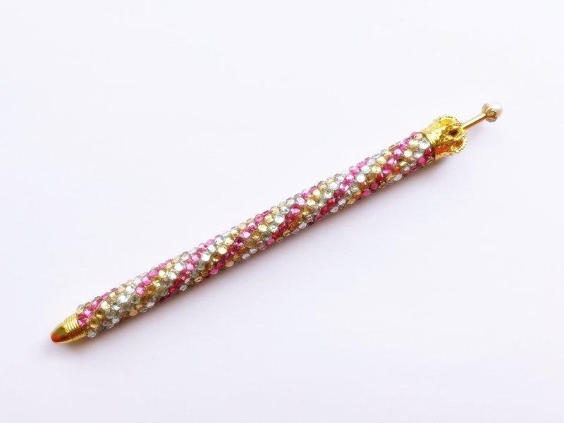 ボールペン キラキラペンULKA 3色ストライプ細 シルバー・ゴールド・ピンク ラインストーン 替え芯1本付き ekmattra-3sthin-silver-gold-pink
