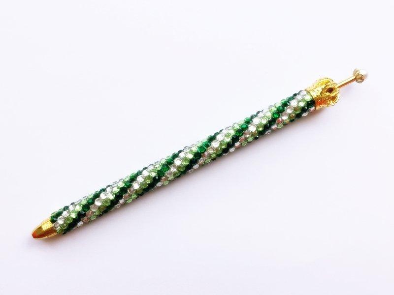 ボールペン キラキラペンULKA 3色ストライプ細 シルバー・ライトグリーン・グリーン ラインストーン 替え芯1本付き ekmattra-3sthin-silver-lightgreen-green