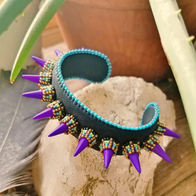Purple Spike Leather Cuff Bracelet