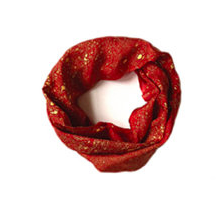 Red Fine Silk Gold Speckled Infinity Scarf