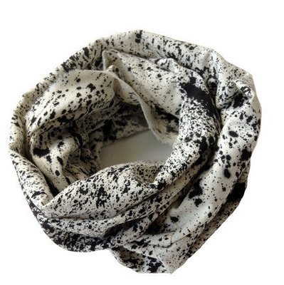 White Raw Silk Black Speckled Infinity Scarf