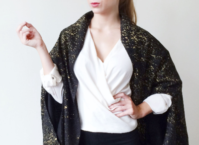 Black Raw Silk Gold Speckled Cape