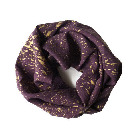 Purple Fine Silk Gold Speckled Infinity Scarf