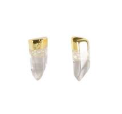 Clear Quartz Gold Dipped Earrings