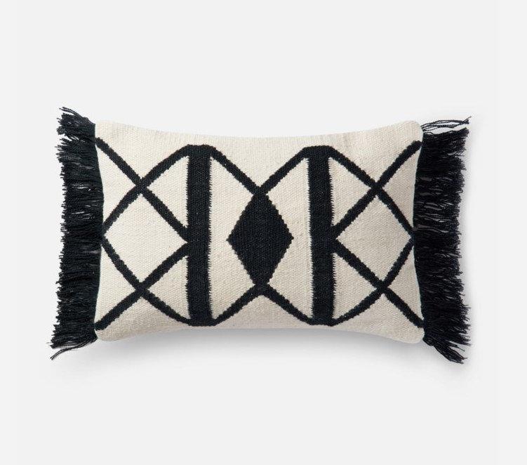 Black/Ivory Indoor/Outdoor Pillow 13 x 21 P0503