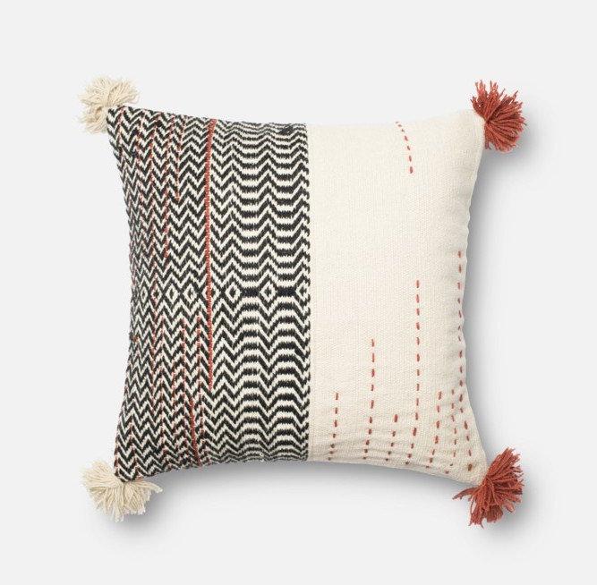 Black/Ivory Pillow 22 x 22 P0227