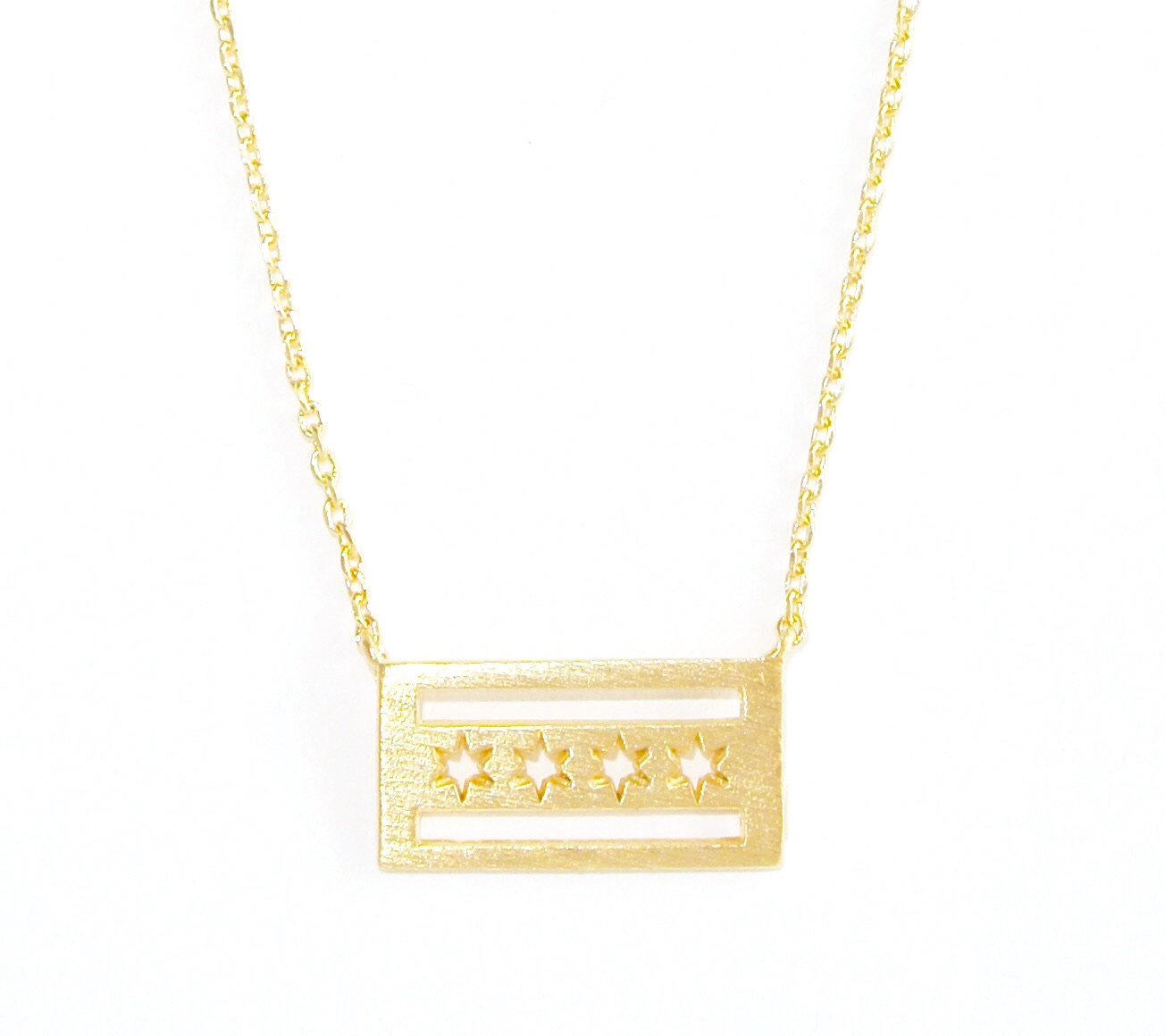 Chicago Flag Gold Plated Necklace