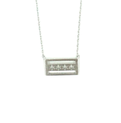 Chicago Flag Silver Plated Necklace