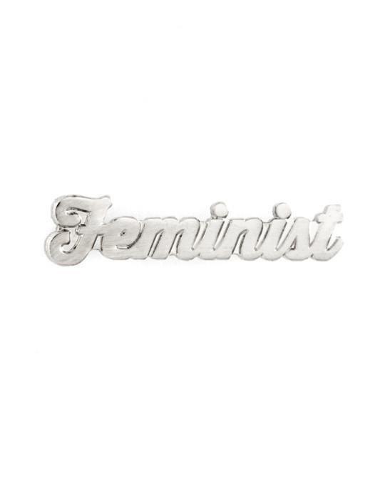 Feminist Enamel Pin - SILVER