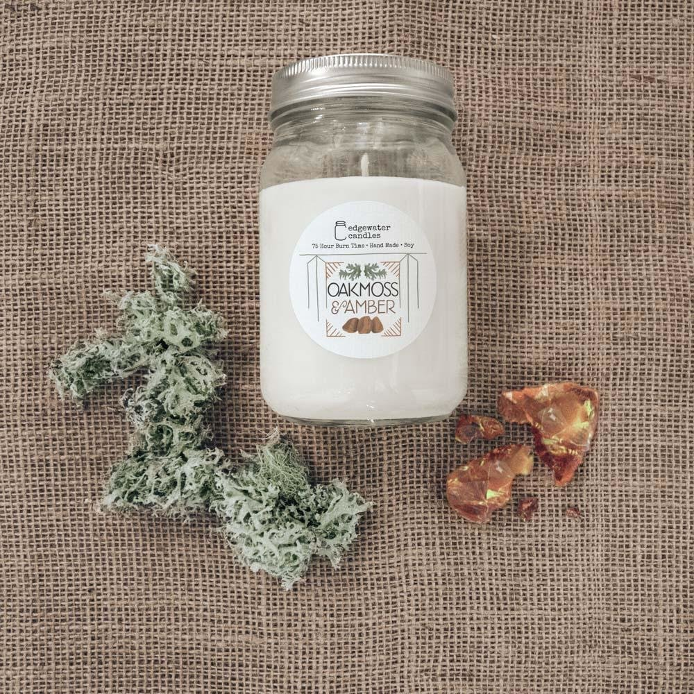 Oakmoss & Amber 12oz Soy Candle Jar