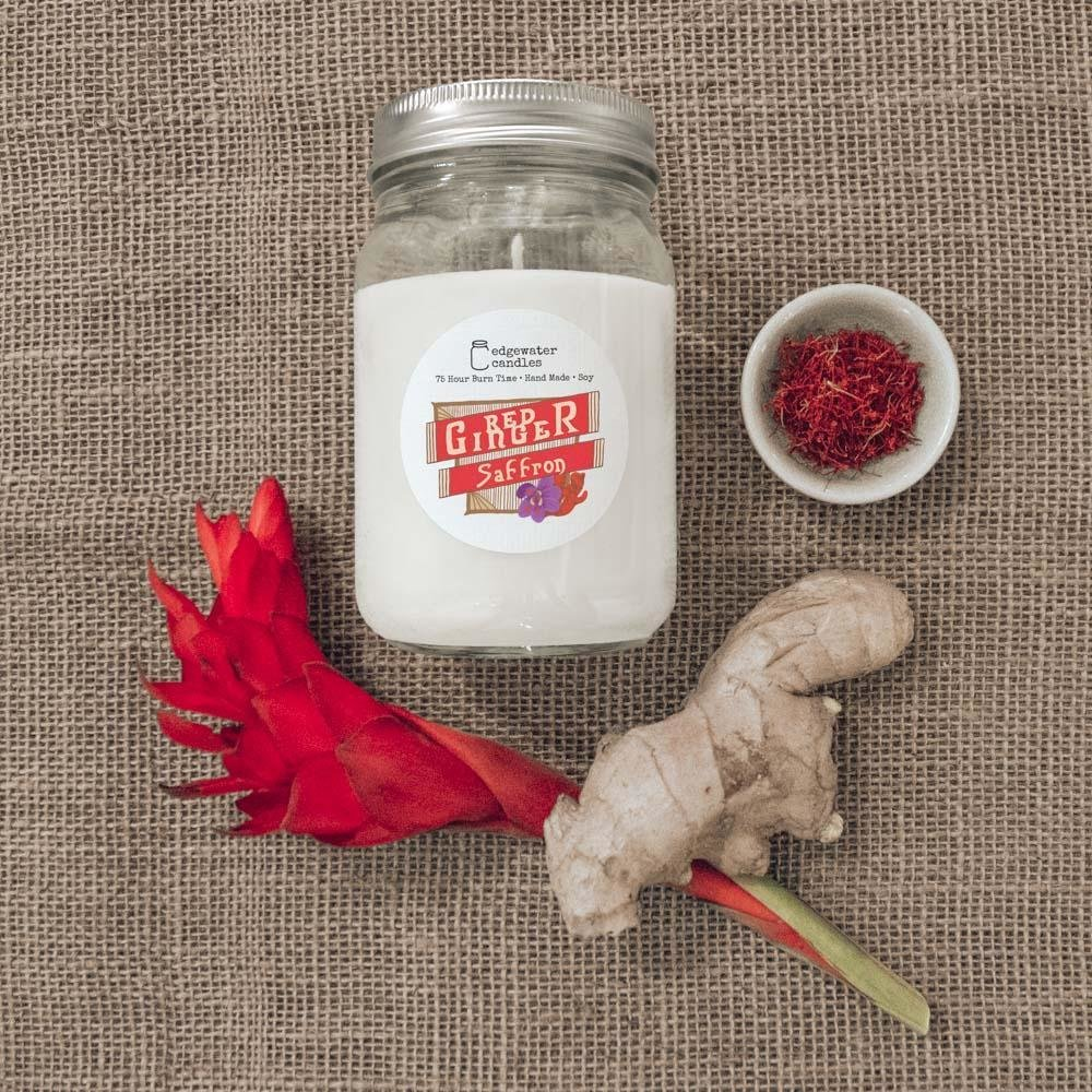 Red Ginger Saffron 12oz Soy Candle Jar