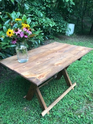 Gorgeous handcrafted folding table made and donated by Dave Strawn