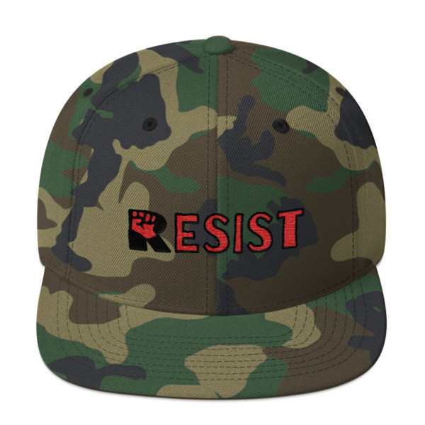 RESIST Long Snapback Flat Brim Hat