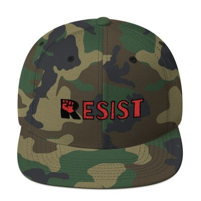 RESIST Long Snapback Flat Brim Hat. Free shipping promo code available!