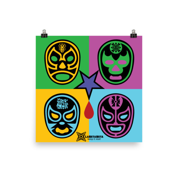 """Premium Luster Photo Paper Poster. """"Lucha Libre Blood"""" designed by LaNetaNeta. Free shipping + 15% discount code below!"""