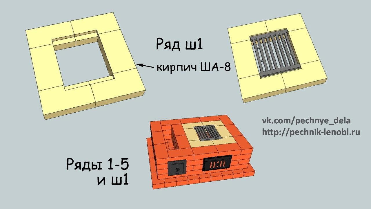 Печь Шведка с футеровкой топки без духовки. 3d-порядовка + подробное описание