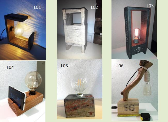 Lámparas madera L01-L02-L03-L04-L05-L06