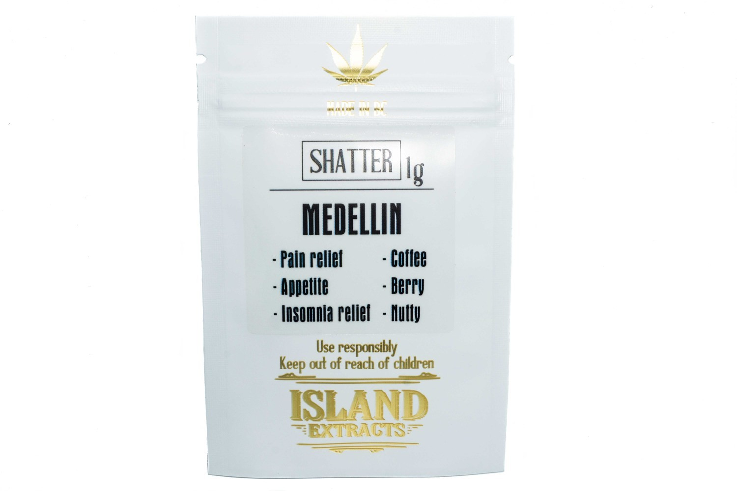 Medellin (Dutch Kush & Nuken) (1g) Shatter by Island Extracts