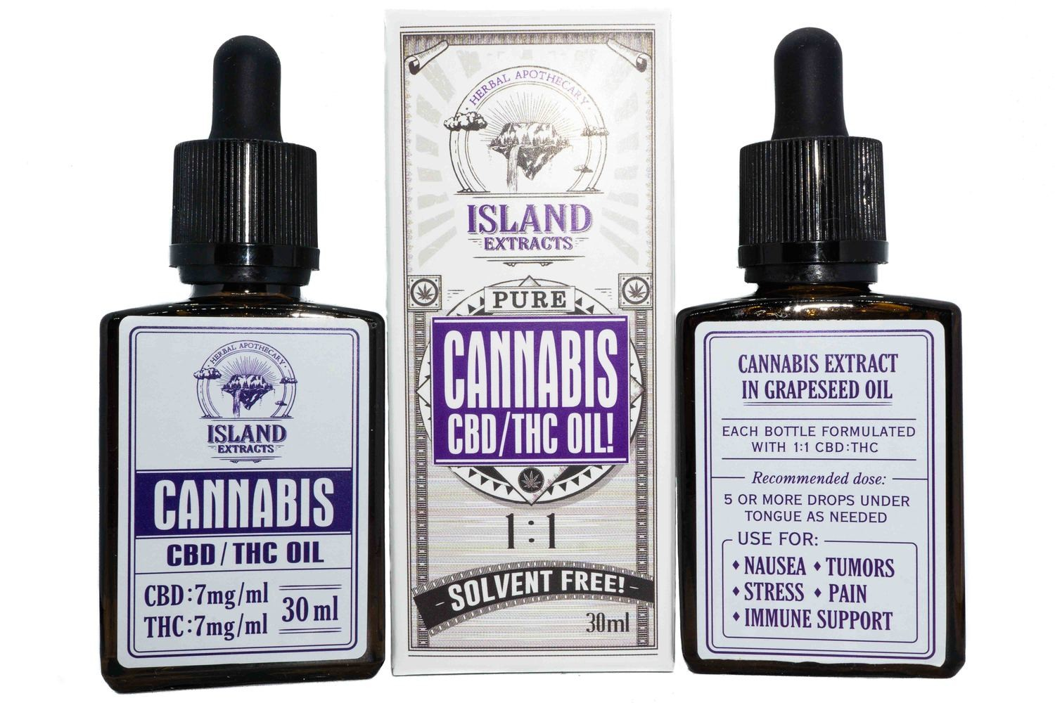 210mg CBD: 210mg THC Tincture (Full Spectrum) (30ml) by Island Extracts