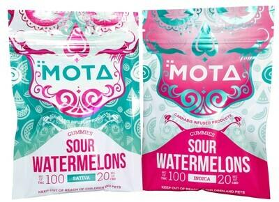 (100mg THC/ 20mg CBD) Sour Watermelon By Mota